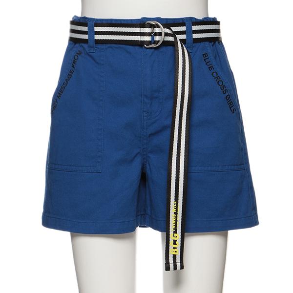 ブルークロスガールズ(BLUE CROSS girls)ロゴベルトつきポケットショートパンツ