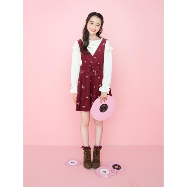 メゾピアノジュニア(mezzo piano junior)花柄コーデュロイ4WAYジャンパースカート
