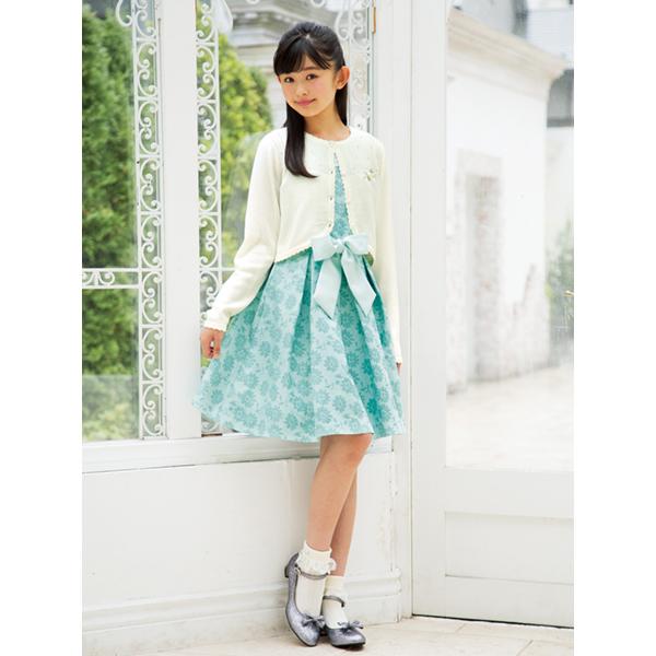 メゾピアノジュニア(mezzo piano junior)フラワージャカードドレス