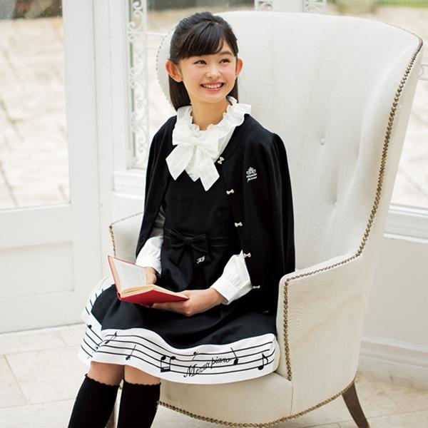 メゾピアノジュニア(mezzo piano junior)リボンつき音符切り替えジャンパースカート