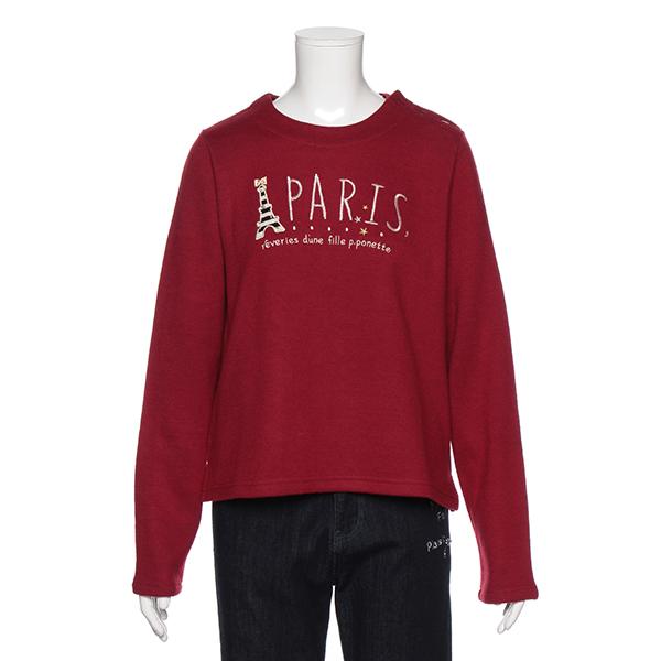 ポンポネットジュニア(pom ponette junior)PARISエッフェル塔アップリケつきTシャツ