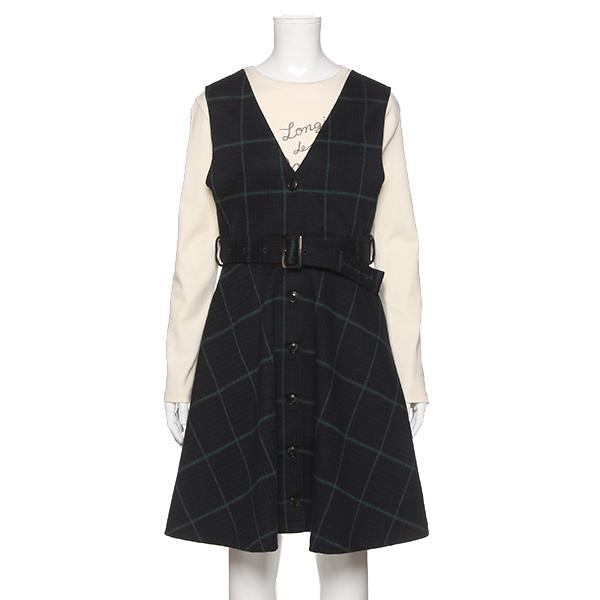 ポンポネットジュニア(pom ponette junior)ベルトつきカットジャカードチェックジャンパースカート