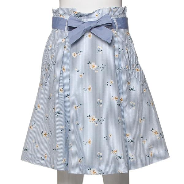 ポンポネットジュニア(pom ponette junior)【トドラーサイズ向け】花柄ストライプスカート