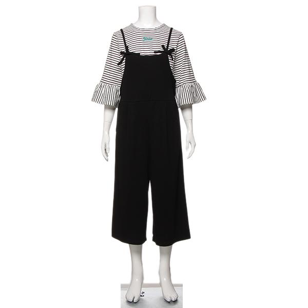 リンジィ(Lindsay)ボーダーTシャツ×サロペットセット