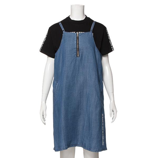 ブルークロスガールズ(BLUE CROSS girls)フロントファスナーキャミソールワンピース×ロゴTシャツセット