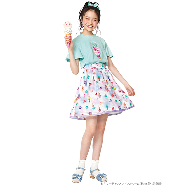 メゾピアノジュニア(mezzo piano junior)サーティワン アイスクリームコラボ アイス柄スカート