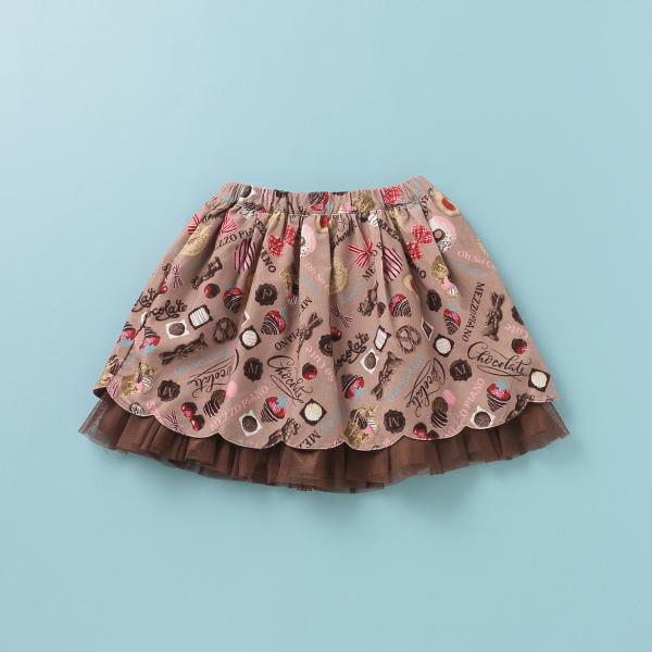 メゾピアノ(mezzo piano)チョコ柄細コールスカート