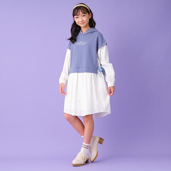 リンジィ Lindsay 激安☆超特価 当店一番人気 フェイクレイヤードパーカワンピース