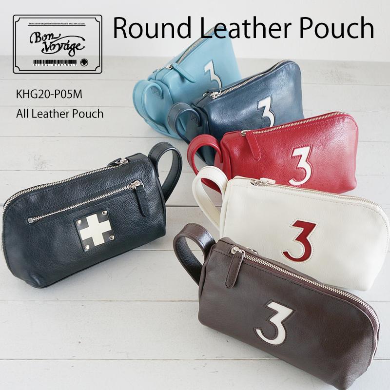 木の庄帆布 オールレザーラウンドポーチ ポーチ KHG19-P05M  木の庄 トランジッド 限定 本革 カートポーチ All Leather #3 Round Pouch
