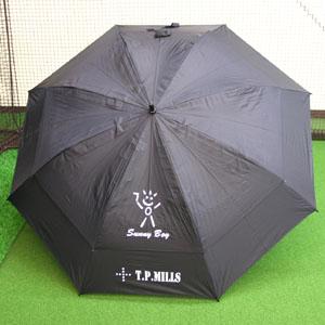 TP MILLS おすすめ ロゴ入り強風にあおられにくい2段シェルタイプ 日傘 UV傘 アンブレラ TPミルズ ゴルフ メーカー公式 晴雨兼用