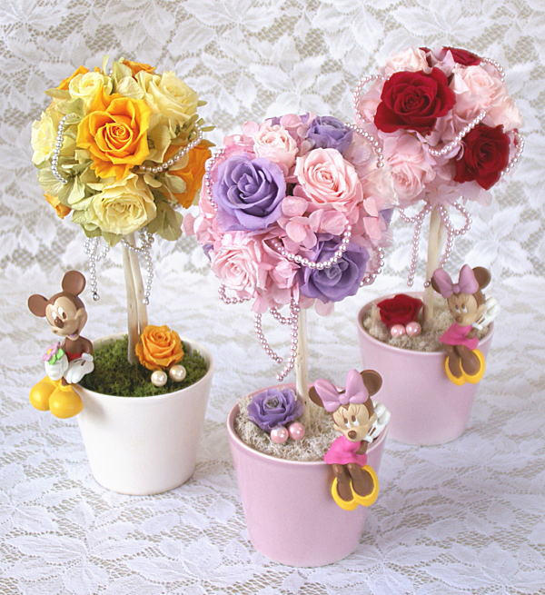 プリザーブドフラワーディズニーキャラクターワンダフルデー誕生祝い、母の日、父の日、敬老の日、結婚祝い