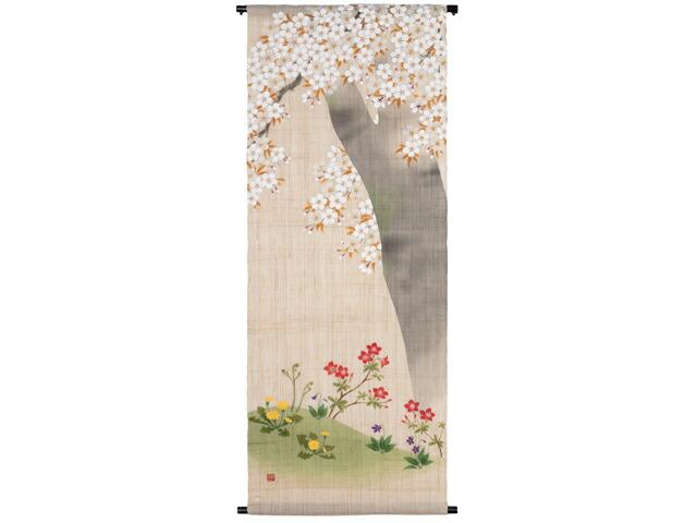 【京都洛柿庵】手描きタペストリー「さくら草花」