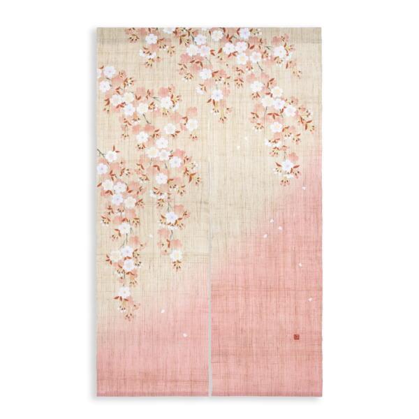 京都洛柿庵 手描きのれん春の飾り 山里桜