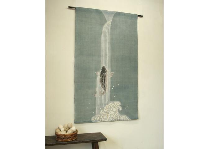 【京都洛柿庵】 端午の節句飾りのれん 鯉の滝登り