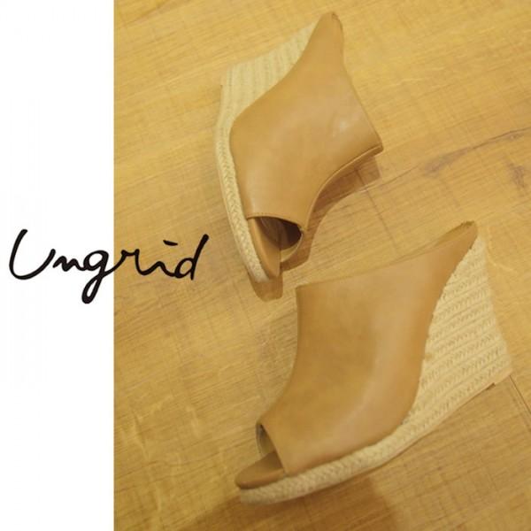 Ungrid(アングリッド)13,990⇒11,192(20%OFF)ジュートウェッジサンダル(111521807501)ミュール サンダル ヒール ジュート シューズ 靴 レディース カジュアル 送料無料 代引手数料無料