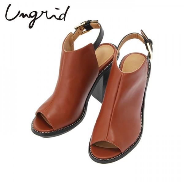 Ungrid(アングリッド)16,490⇒13,192(20%OFF)オープントゥヒールサンダル(111531817001)ミュール サンダル 太ヒール レザー シューズ 靴 レディース カジュアル 送料無料 代引手数料無料