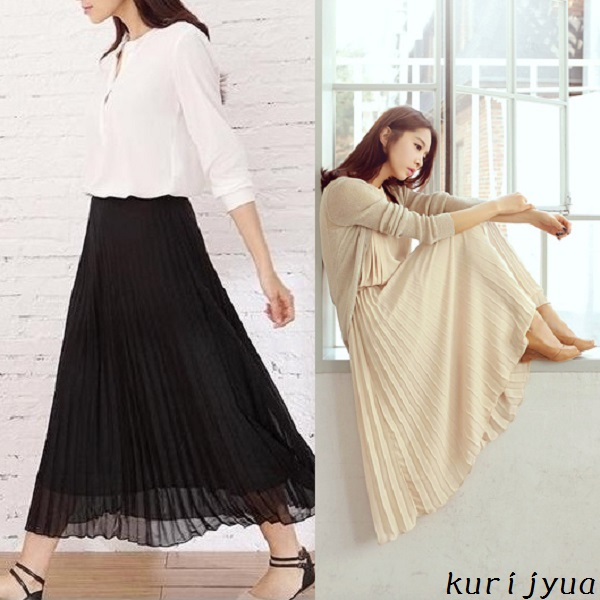 Maxi skirt pleated chiffon dresses