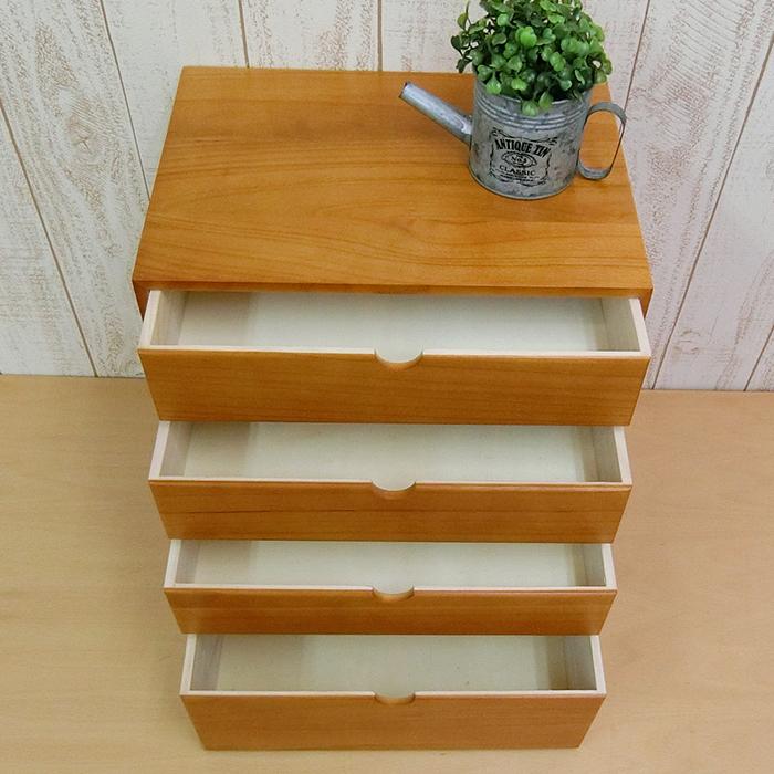 ミニ チェスト 上置 4段 引出 大容量 (約 幅34 奥行25 高さ38.2cm 約2.5kg 天然木 桐 ウッド ブラウン ラッカー塗装 木製 完成品 ) 書類 机上収納 デスク上 A4 書類 小物 入れ ケース 収納
