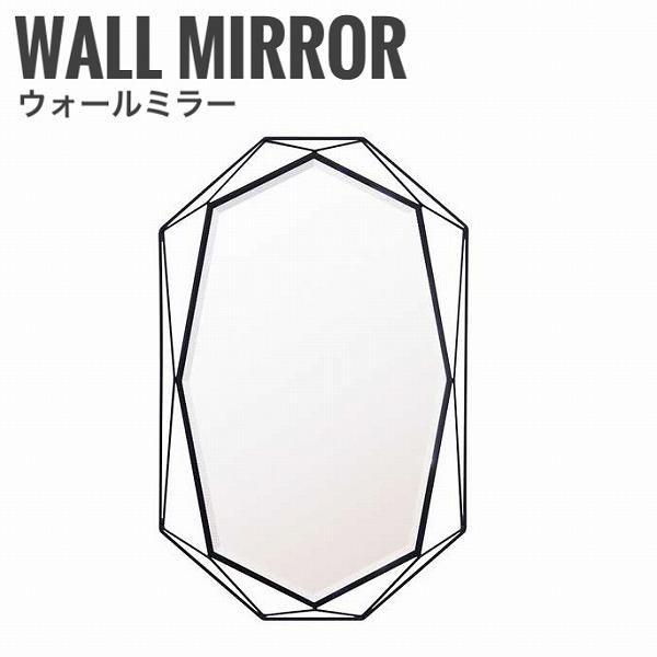 【沖縄・離島への配送不可】GEM ゲム ウォールミラー Bタイプ 壁掛けミラー モダン 鏡 ブラック 黒 スチール デザイナーズ アイアン 幅50cm 高さ80cm おしゃれ