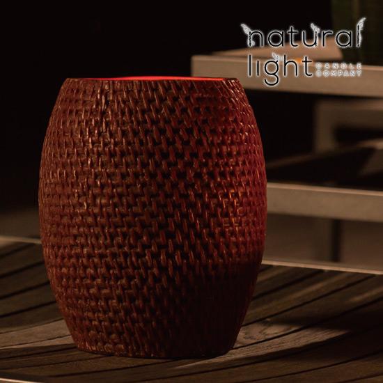 Natural Light Candle (ナチュラルライトキャンドル)8インチ ラタン ハリケーンWHITE WASH【人気 ギフト プレゼント】 アロマキャンドル 蜜蝋 天然香料 アジアン バリ リゾート インテリア【3,000円以上 送料無料】