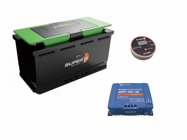 独立型太陽光発電 DC12Vセット 200W + 90Ahリチウムイオン電池 Super B Epsilon (N3063)[正規品/日本語の説明書付き/無料保証2年(電池を除く)]