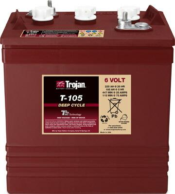 Trojan ディープサイクル バッテリ T-105 / EAPT (シングル) 6V・225Ah 20時間率(トロ―ジャン T105)[正規品/セール中]
