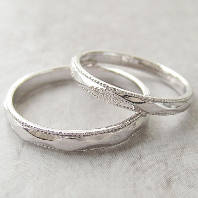 Paripassu 結婚指輪 マリッジリング ペアリング 男性 女性 2個ペア 刻印無料 偶数号 シルバー つやあり ミル打ち レディース メンズ ミルグレイン 結婚記念日 指輪 プロポーズ