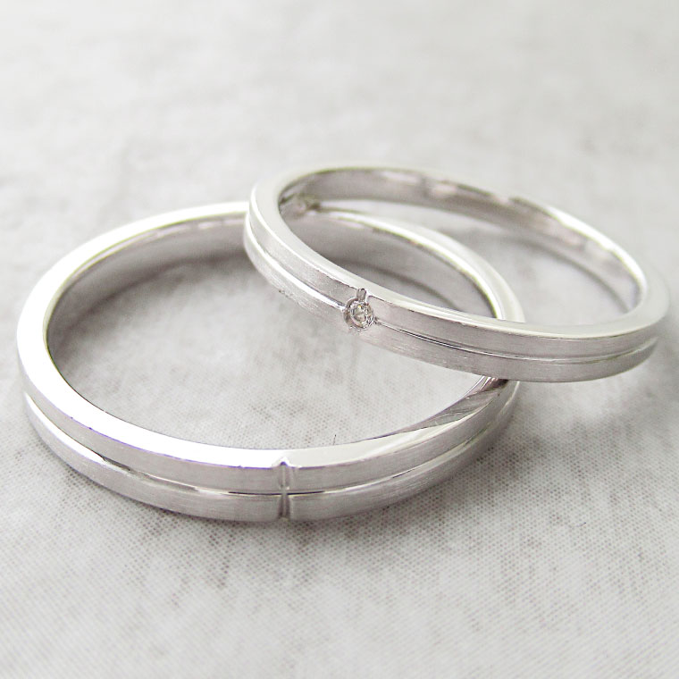 Paripassu 結婚指輪 マリッジリング ペアリング 男性 女性 2個ペア 刻印無料 偶数号 シルバー つや消し クロス レディース メンズ 結婚記念日 指輪 プロポーズ