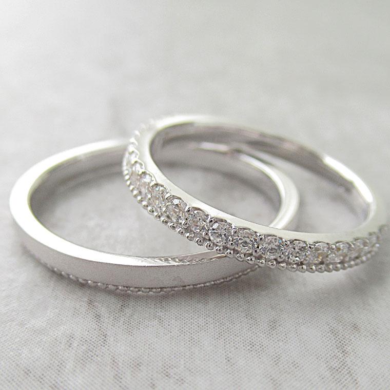 Paripassu 結婚指輪 マリッジリング ペアリング 男性 女性 2個ペア 刻印無料 偶数号 シルバー ハーフエタニティ ミル打ち つや消し レディース メンズ 結婚記念日 指輪 プロポーズ