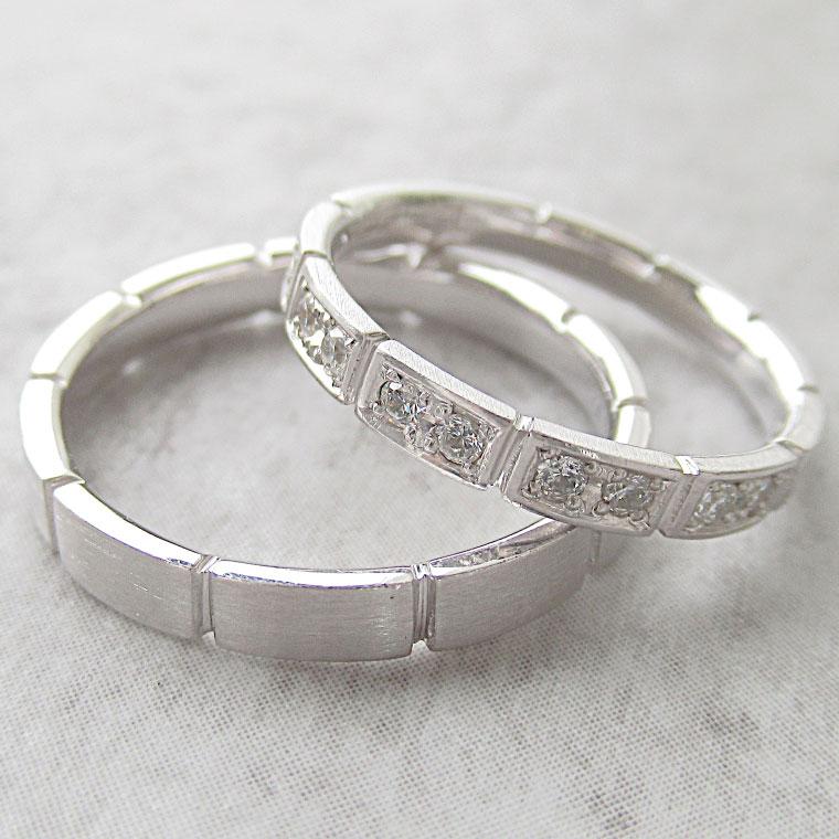 Paripassu 結婚指輪 マリッジリング ペアリング 男性 女性 2個ペア 刻印無料 偶数号 シルバー ブロック つや消し レディース メンズ 結婚記念日 指輪 プロポーズ