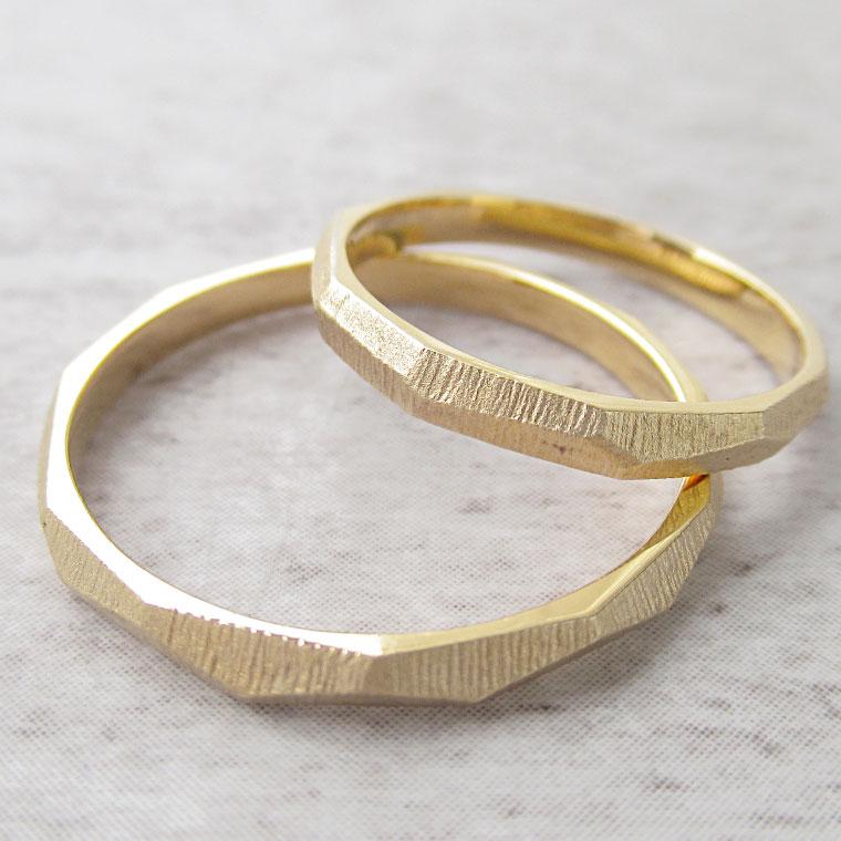 Paripassu 結婚指輪 マリッジリング ペアリング 男性 女性 2個ペア 刻印無料 偶数号 シルバー つや消し ゴールド カットリング 表面加工 細身 華奢 レディース メンズ 結婚記念日 指輪 プロポーズ