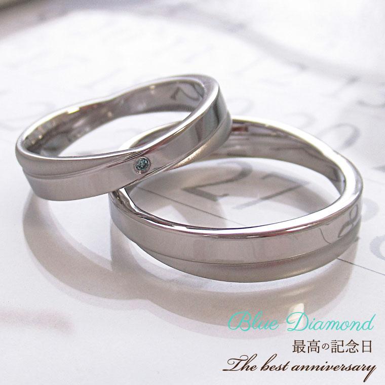 ペアリング 男性 女性 2個ペア リング かわいい ペア ステンレス ブルーダイヤモンド リング クロスデザイン 金属アレルギー レディース 女性 誕生日 記念日 指輪 結婚指輪 刻印可能
