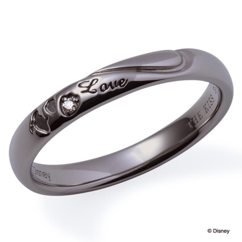 ギフト プレゼント THE KISS ディズニー コレクション ペアリング シルバー リング ドナルド メンズ ペア ダイヤモンド ハート シェアハート 足型 ブラック ザ・キッス お揃い 指輪 誕生日 記念日 メンズ