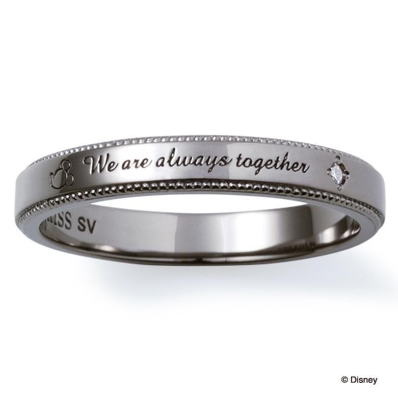 父の日ギフト プレゼント THE KISS ディズニー コレクション ペアリング シルバー リング ミッキー メンズ ペア ダイヤモンド ブラック ザ・キッス お揃い 指輪 誕生日 記念日 メンズ