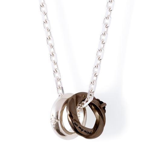 THE KISS ペアネックレス シルバー ネックレス メンズ ペア ダイヤモンド ブラック 50cm ザ・キッス カップル お揃い 誕生日 記念日 祝い メンズ