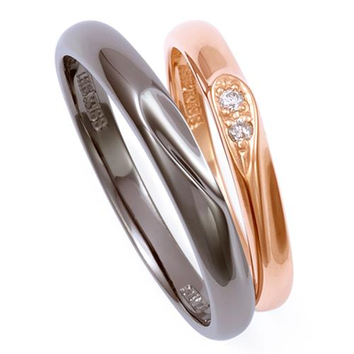 THE KISS ペアリング 男性 女性 2個ペア シルバー リング ピンクゴールド レディース メンズ ペア ダイヤモンド ブラック ザ・キッス カップル お揃い 指輪 誕生日 記念日 メンズ
