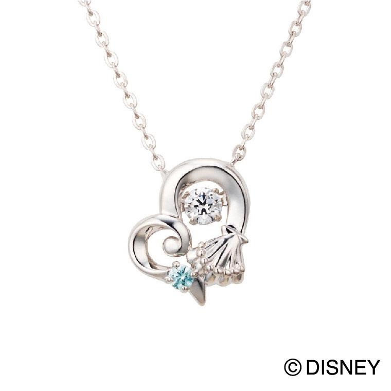 母の日 プレゼント 花以外 ギフト whiteclover ディズニー ネックレス レディース ディズニープリンセス アリエル ハート 貝 ダンシングストーン Disney シルバー925
