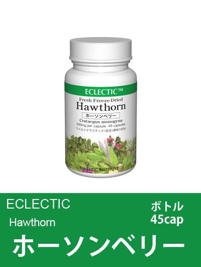 エクレクティック(ECLECTIC) ホーソンベリー(セイヨウサンザシ) ボトル45cap 【オーガニック・ハーブサプリメント・カプセル・ドキドキが気になる方へ】