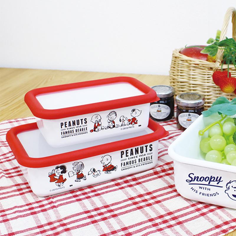 PEANUTS ピーナッツ ホーロー保存容器 Sサイズ  スヌーピー フードコンテナ 琺瑯 ほうろう タッパー 北欧 かわいい おしゃれ 食品保存 プチギフト