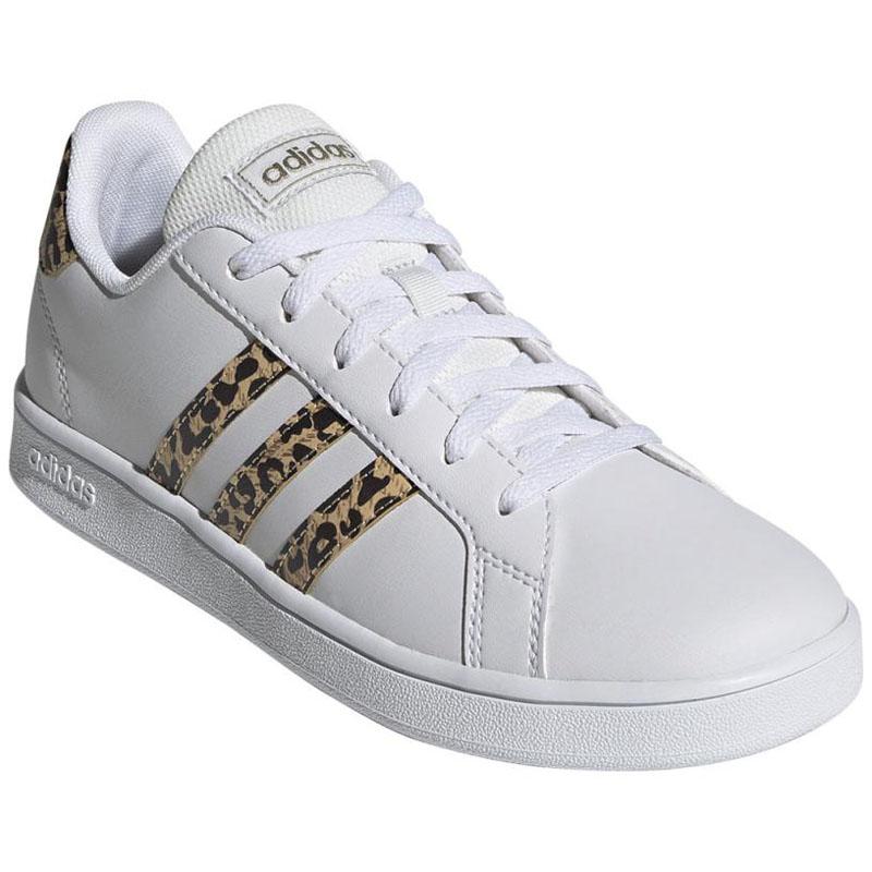 -テニスシューズ- adidas(アディダス) GRANDCOURT K 23.0cm フットウェアホワイト×シャンパンメタリック ADJ-FZ3510-230
