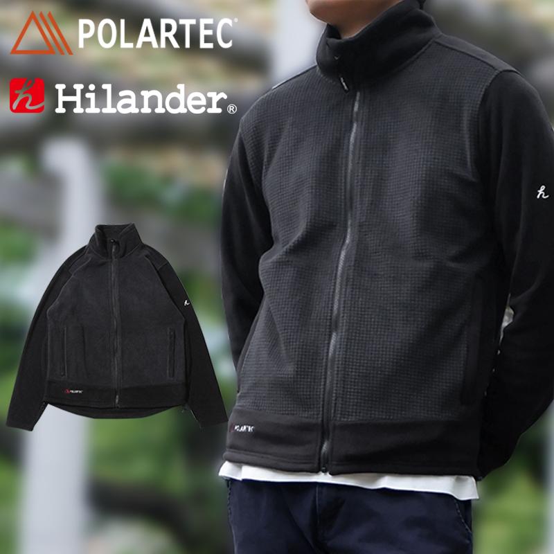 -アウトドアジャケット メンズ - 公式ストア 特価 Hilander ハイランダー POLARTEC M ポーラテック NH-051 ジャケット ブラック 難燃フリースジャケット