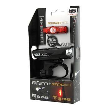 -自転車アクセサリー- キャットアイ 国内送料無料 CAT EYE VOLT200+RAPID mini VOLT200+RAPIDmini 激安価格と即納で通信販売 KIT BK ブラック