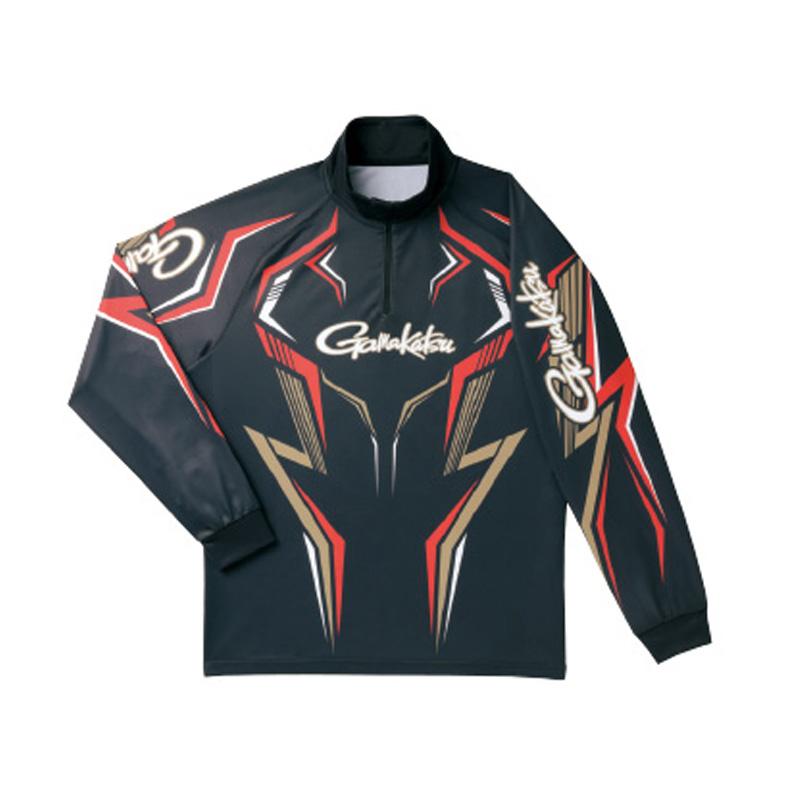 がまかつ(Gamakatsu) 2WAYプリントジップシャツ(長袖) GM-3540 LL ブラック×ゴールド 53540-14-0