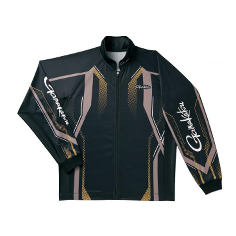 がまかつ(Gamakatsu) フルジップトーナメントシャツ GM-3569 L ブラック×ゴールド 53569-23-0