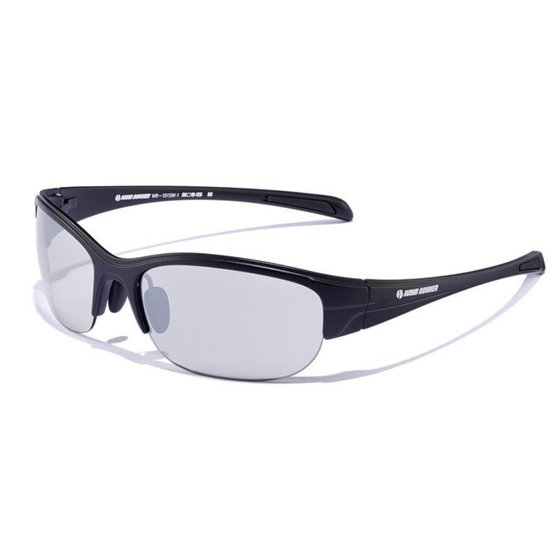 偏光グラス メガネの愛眼 WIND 買取 RUNNER ブラックマット WR-101SW-1 期間限定 シルバーミラーライトスモーク