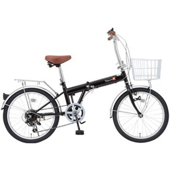 トップワン(TOPONE) 20型 6段変速・カゴ付折畳自転車 ライト&カギ付【代引不可】 20インチ ブラック KGK206LL-09-BK 【大型商品】