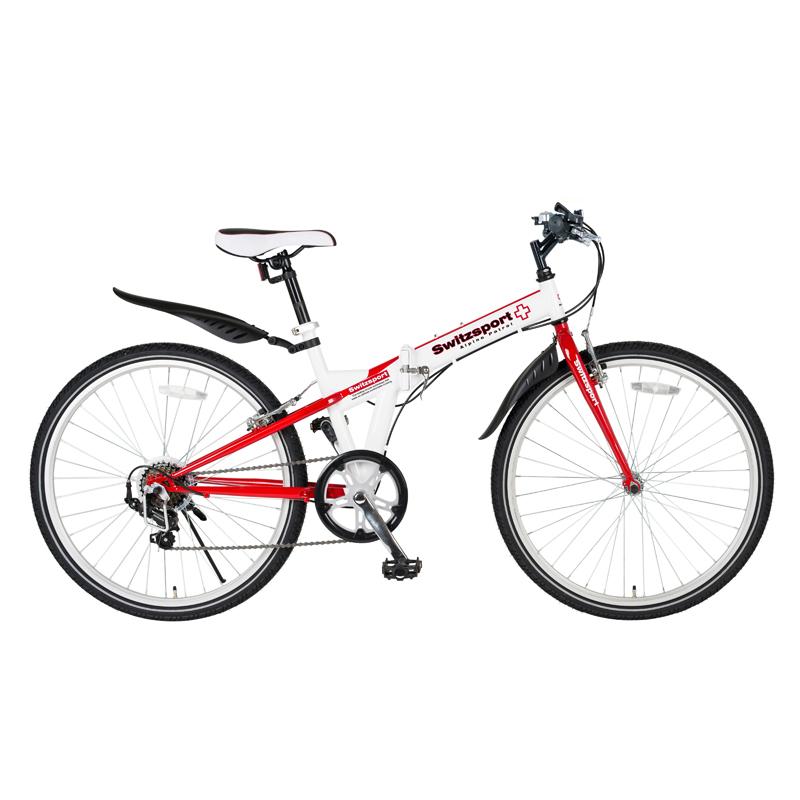 Switzsports(スウィツスポーツ) SIERRE-II 【シエルII】 クロスバイクタイプ26インチ折畳自転車 【シマノ7段変速】 ホワイト×レッド MDL31015