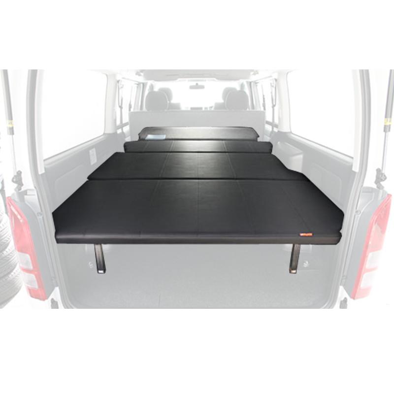 ユーアイビークル(UIvehicle) ハイエース200系 マルチウェイベッドキット(Hiフレーム)【代引不可】【営業所止め】 ワイドSGL レザー調ブラック JN-U004a