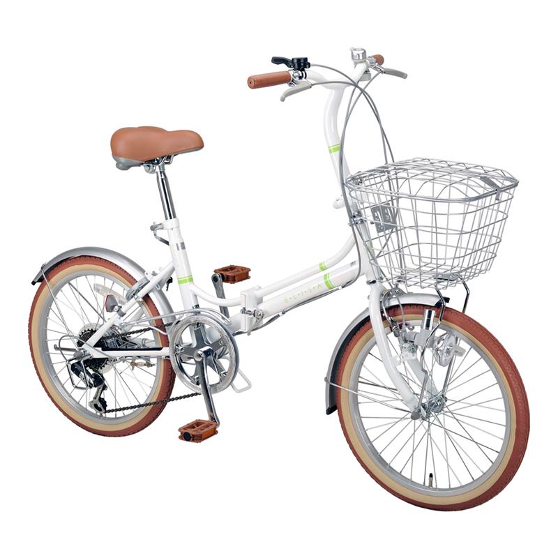 キャプテンスタッグ(CAPTAIN STAG) エリーサ FDB206BAA 折り畳み自転車 20インチ 6段変速 カゴ付 カギ付 20インチ ホワイト YG-267 【大型商品】