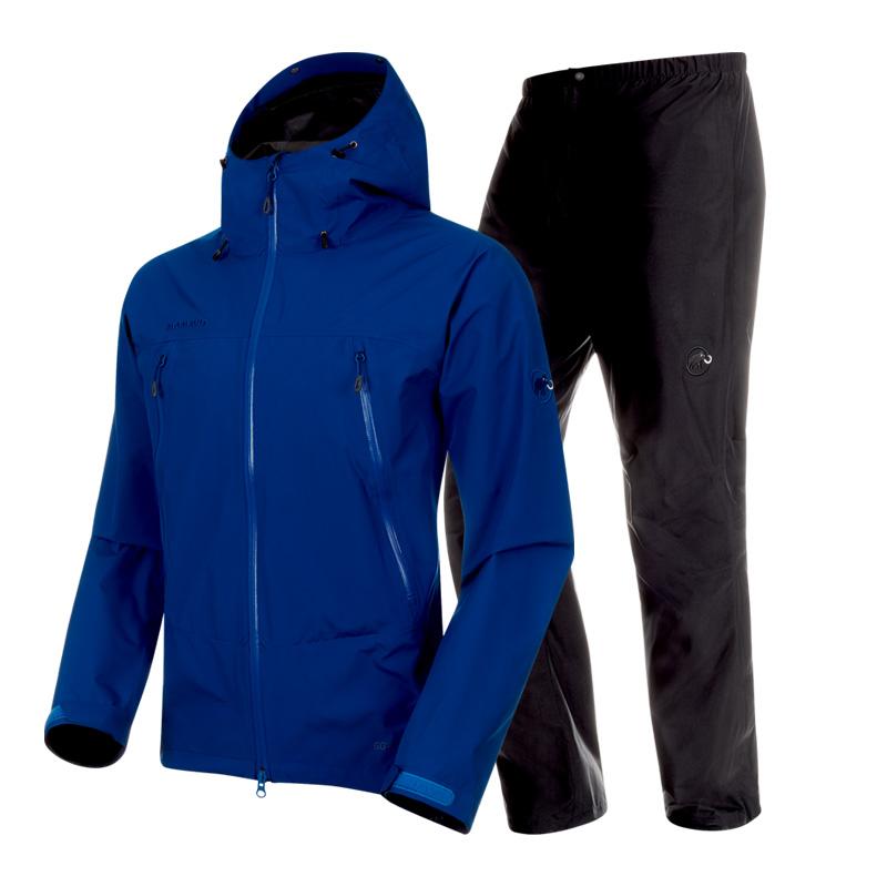 [アウトドアレインウェア・レインポンチョ] MAMMUT(マムート) CLIMATE Rain Suit AF Men's M 50142(surf×black) 1010-26551